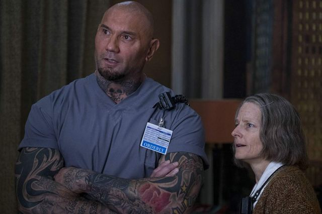 Dave Bautista and Jodie Foster in Hotel Artemis
