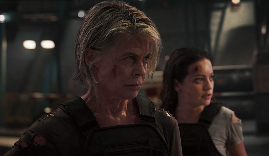 Linda Hamilton and Natalia Reyes in Terminator: Dark Fate