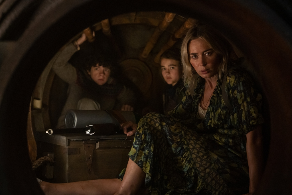 Noah Jupe, Millicent Simmonds and Emily Blunt in A Quiet Place Part 2